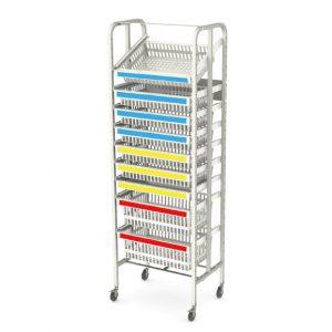 open-frame-rack-E-single bay coloured handles